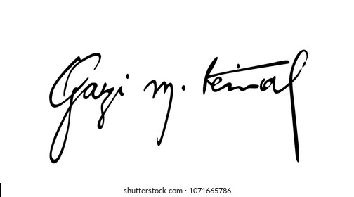 April 18, 2018, 29 Republic of Turkey founder Mustafa Kemal Ataturk's signature vector.
