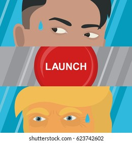 April 19, 2017. Donald Trump President of America and leader of the North Korea Kim Jong-un are looking at the rocket-launch button