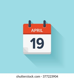 April 19. Calendar icon.Vector illustration,flat style.Date,day of month:Sunday,Monday,Tuesday,Wednesday,Thursday,Friday,Saturday.Weekend,red letter day.Calendar for 2017 year.Holidays in April.