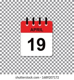 April 19th calendar day of month. Vector illustration.