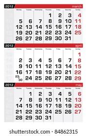 April 2012 Three-Month Calendar