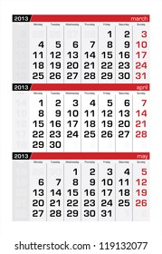 April 2013 Three-Month Calendar