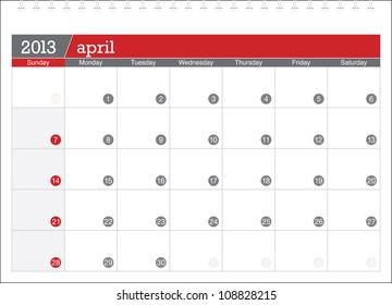 april 2013-planning calendar
