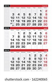 April 2014 Three-Month Calendar