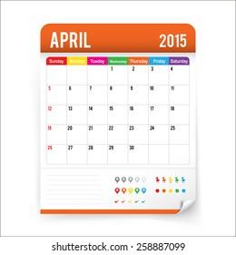 April 2015 calendar on white background vector illustration