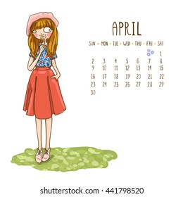 April. 2017 calendar with cute cartoon fashion girl with flower , bright spring image. Can be used like greeting cards.