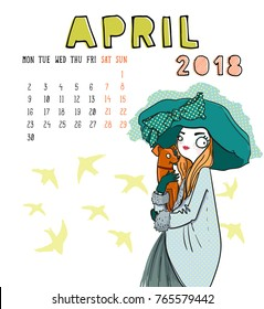April. 2018 calendar. Cute girl with dog. Can be used like greeting cards.