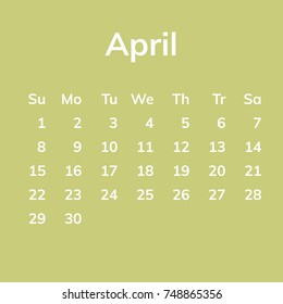 April 2018 calendar, week starts on Sunday. Flat vector illustration