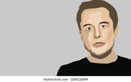 April, 2018: Famous Entrepreneur and CEO Elon Musk. Vector portrait.