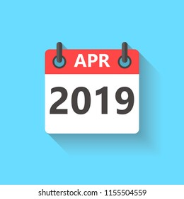 April 2019 calendar flat style icon with long shadow.