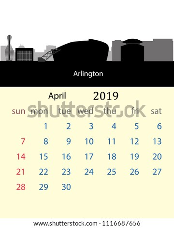 april 2019 calendar of the united states with arlington city skyline