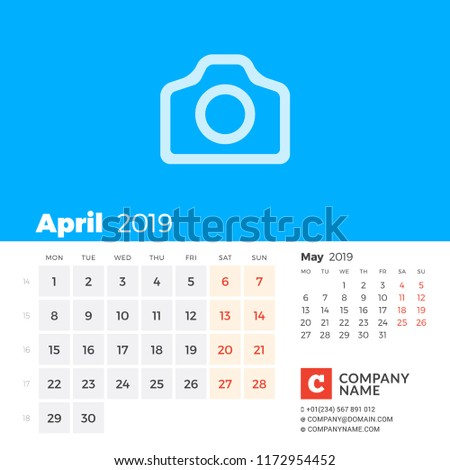 april 2019 calendar for 2019 year week starts on monday 2 months on