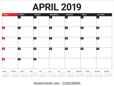 April 2019 desk calendar vector illustration, simple and clean design.