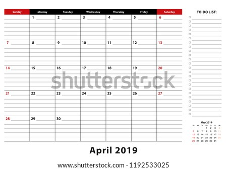 April 2019 Monthly Desk Pad Calendar Stock Vector Royalty Free