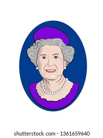 April 2019. Stylized vector portrait of Elizabeth II, Queen of the United Kingdom.