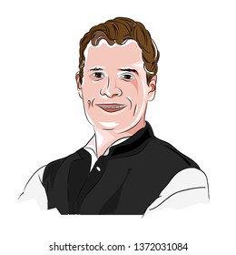 April, 2019: Vector portrait of Rahul Gandhi - Indian Youth Congress Party from Amethi