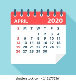 April 2020 Calendar Leaf - Illustration. Vector graphic page