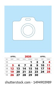April 2020 calendar planner A3 size with place for your photo. Vector planner.