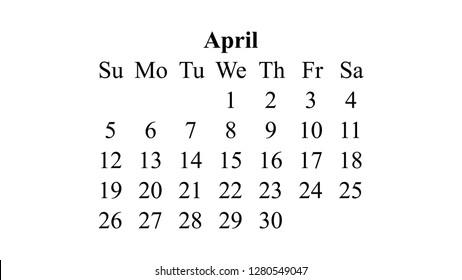 April 2020 Calendar 2020 Vector Simple Stock Vector Royalty Free