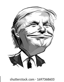 April 2020: Caricature of president Donald Trump in black and white - vector illustration  (Ideal for printing on fabric or paper, poster or wallpaper, house decoration)