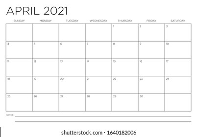 April 2021 Single Month Calendar Page Fits 11x17 Inch Print Modern Blank Template