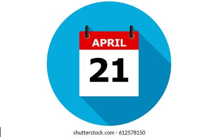 april 21 calendar vector flat icon with long shadow