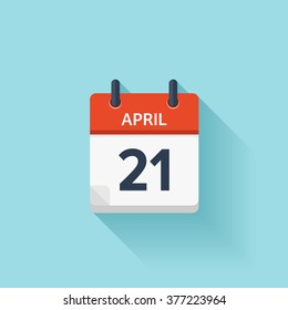 April 21.Calendar icon.Vector illustration,flat style.Date,day of month:Sunday,Monday,Tuesday,Wednesday,Thursday,Friday,Saturday.Weekend,red letter day.Calendar for 2017 year.Holidays in April.