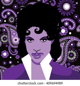 APRIL 22, 2016: Illustrative editorial drawing of musical artist Prince. EPS 10 vector.
