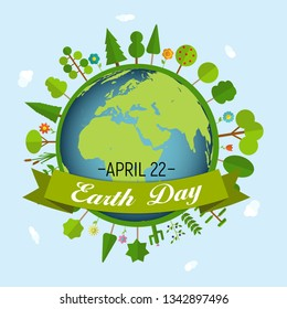 April 22, Earth Day Background Vector Illustration EPS10