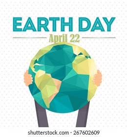 April 22 Earth Day Lettering and World Map Hold Hand Flat Vector Design