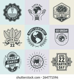 April 22 World Earth Day. Assorted retro design insignias logotypes set. Vector vintage elements.