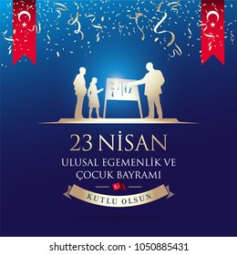 April 23, National Sovereignty and Children's Day Celebration Card. Text: April 23, National Sovereignty and Children's Day. Turkish flag symbol. Statue of teacher Ataturk with students silhouettes.