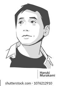 APRIL 24, 2018: Illustrative editorial portrait of Japanese writer Haruki Murakami in black and white