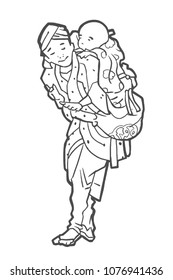 APRIL 25, 2018: Isolated illustration of father carrying child from the woodblock prints of japanese artist Katsushika Hokusai in black and white