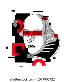 April 26, 2018: modern vector Illustration William Shakespeare. Glitch