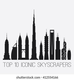 April 27, 2016. Iconic Skyscrapers. Empire St. Building, Burj Al Arab, Petronas Towers, Burj Khalifa, Chrysler Building, Taipei 101, Shanghai World Financial Ctr, Willis And Bank of China TWR, Gherkin