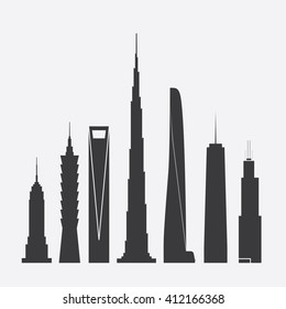 April 27, 2016: Set of Vector Illustrations of Famous Skyscrapers. Empire State Building, Taipei 101, Shanghai World Financial Ctr., Burj Khalifa, Shanghai Tower, One World Trade Ctr., Willis Tower