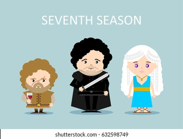 APRIL 27, 2017: illustration of Tyrion Lannister, Daenerys Targaryen, Jon Snow (Game of thrones)