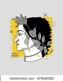 April 27, 2018:  modern vector Illustration Dante Alighieri