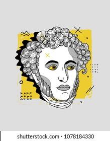 April 27, 2018: modern vector Illustration Alexander Sergeyevich Pushkin