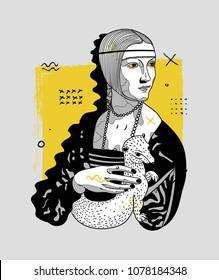 April 27, 2018:  modern vector Illustration Lady with an Ermine by Leonardo da Vinci. Creative