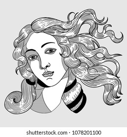 April 27, 2018: modern vector Illustration The Birth of Venus by Sandro Botticelli