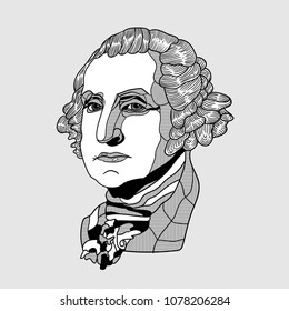 April 27, 2018: modern vector Illustration George Washington