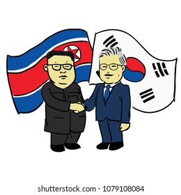 April 28th, 2018, A vector illustration of North and South Korean leaders shake hands at the border to end Korean War.