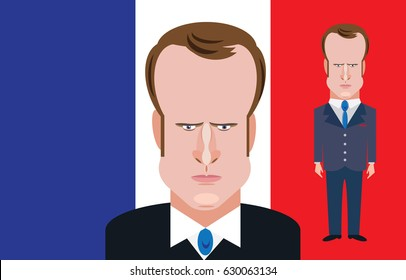 April 29. 2017: A vector illustration of a portrait of French presidential candidate Emmanuel Macron
