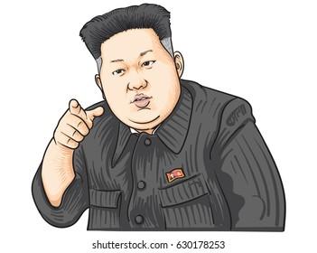 April 29,2017:Caricature character illustration of Kim Jong Un
