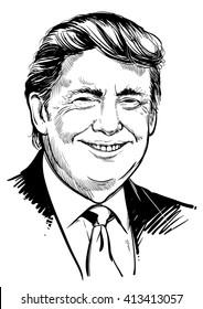 April 30, 2016: Portrait of Donald Trump. vector illustration