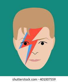 APRIL 5 2016: Vector Illustration of David Bowie face, eps10, vector, illustrative editorial - stock vector