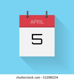 April 5, Daily calendar icon, Date and time, day, month, Holiday, Flat designed Vector Illustration