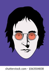 APRIL 6 2018: The illustration of John Lennon in red glasses on a purple background, eps10, editorial use only